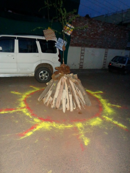 Sticks laid out for a ritual bonfire on Holi.